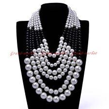 Fashion Gold Chain White Black Resin Pearl Choker Statement Pendant Bib Necklace
