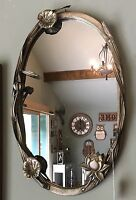 Vintage Antique Silver Metal Flower Floral Oval Wall Mirror Girl Bedroom NEW