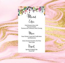 White Wedding Reception table Menu Personalised Birthday Engagement event