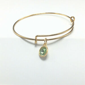 Popular Gold Tone Expandable Wire Green Charm With Pendant Bracelet Bangle A002