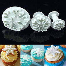 3pcs Snowflake Fondant Cake Decorating Sugarcraft Cutter Plunger Mold Mould DIY