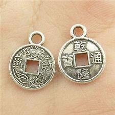 15396*100PCS Silver Vintage Mini Ancient Chinese Coins Pendants Alloy Antique