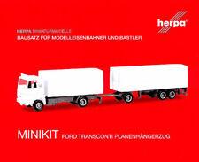 HERPA MiniKit 1:87 LKW FORD Transconti Planenhängerzug, weiß Bausatz #013192 NEU