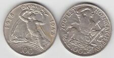 More details for two czechoslovakia silver 100 korun coins in extremely fine or better condition