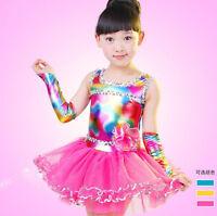 Children Bright Modern dance Dress kids Ballroom Dancwear Costumes Dress Outfits