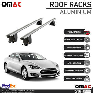 Silver Fixed Point Cross Bar Roof Rack Carrier Rail For Tesla Model S 2012-2017