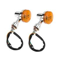 #QZO 2pcs Universal Motorcycle Front Rear Turn Signals Indicators Amber Light