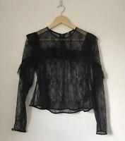 Topshop Boutique Women Top Size 10 Black Lace Long Sleeve Peaky Mesh