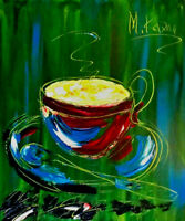 KAZAV - COFFEE  -  IMPRESSIONIST LARGE ORIGINAL OIL PAINTING  ERTHER