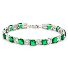 48.40 CTW CREATED EMERALD & CZ 925 STERLING SILVER TENNIS BRACELET 7 INCH
