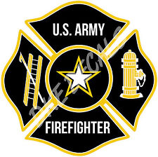 "U.S. Army Firefighter Maltese Cross Decal - 4"" high"