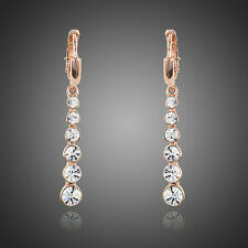 Sparkly White Austria Crystal Rose Gold Plated Elegant Drop Earrings Jewellery