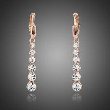 Blanco Brillante Chapado en Oro Rosa Cristal de Austria Elegante Pendientes Joyas