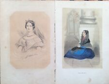 2 Stampe antiche Costume Spagna Isabella II