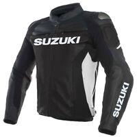 Suzuki GSXR Motorcycle Jackets Biker Racer Leather Motorbike Jacket Sport Zip Up