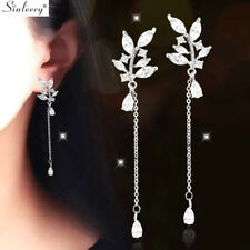 Wedding Crystal Leaf Flower Long Drop Dangle Earring Gold Sliver Fashion Jewelry