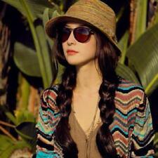 Women Ladies Summer Wide Brim Straw Hat Floppy Derby Beach Sun Foldable Cap HO3