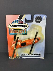 2002 Matchbox Hero City Sky Busters Transport Helicopter Orange Diecast