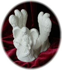 3 Angels CANDLE CENTERPIECE Pillar Holder WHITE Figurines Ceramic Inspirational