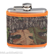 MOSSY OAK NEOPRENE COOZIE SLEEVE FLASK WITH ORANGE TRIM LOTS OF SOUTHERN CHARM