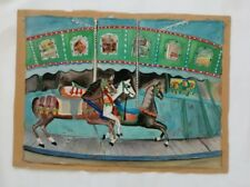 Carousel Painting Naive Signed Original Art Kitsch