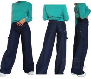 Ladies Girls Mens Vintage Wide Leg 90s Baggy Skater Jeans Denim Trousers Painter