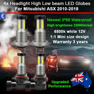 For Mitsubishi ASX 2016 2017 4x 360° Headlight Globes High Low Beam LED Bulb 12V