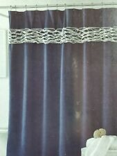 NEW J QUEEN NAVY BLUE WHITE ROPE NAUTICAL FABRIC SHOWER CURTAIN