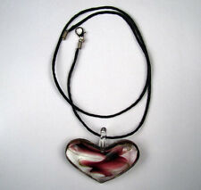 "Handmade Lampwork Murano Glass Heart Shape Necklace 17"" Length Beauty"
