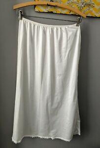 Vintage Half Slip  MONTGOMERY WARD White W/ Lace Trim Nylon 1960's