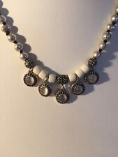 LUCKY BRAND NECKLACE 5 SMALL PENDANTS OF MOONSTONE-LIKE STONES, SILVER BEADS F67