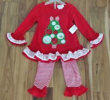 NWT Girl's EMILY ROSE Red White Green Christmas Tree Dress Shirt Set Size 3T