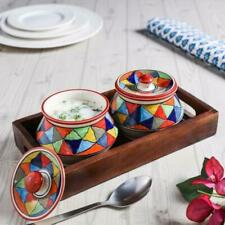 Set of 2 coloured Serving Bowls + Tray (mango wood), handmade stoneware pottery