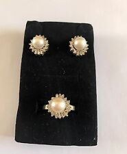 14k 14kt Yellow Gold Pearl Set Of Earrings And Ring 11.1 Grams Size 6.5 Diamonds