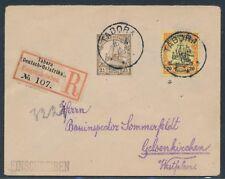 DOA 22 1/2 Heller Kaiseryacht Einschreiben MiF Tabora 1908 Gelsenkirchen (S15328