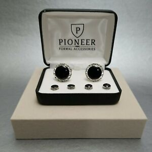 Pioneer Black Enamel And Crystals Studs And Cufflinks set silver tone setting