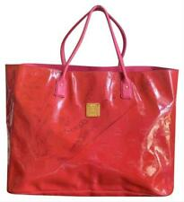 Authentic MCM Red Pink Patent Leather Limited Edition Oversized Tote Bag