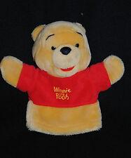 Doudou Marionnette Winnie DISNEY Baby NICOTOY Ours Jaune Rouge 22 Cm TTBE