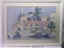 BEAUTIFUL, SAILBOATS IN TROPICS SIGNED PICTURE BY BUFFET PROFESSIONALLY FRAMED