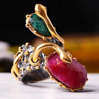 Turkish 925 Sterling Silver Natural Gemstone Ruby Emerald Womans Ladies Ring
