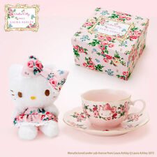 SANRIO Hello Kitty meets LAURA ASHLEY Mascot & Tea cup set Kawaii Cute NEW F/S