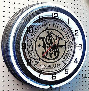 "18"" SMITH & WESSON Fire Arms Revolver  Guns Sign Carbon Fiber Double Neon Clock"