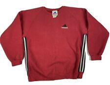 Vintage Adidas Red Striped Pullover Crewneck Sweatshirt Heavy Size Medium RARE