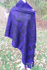 Peacock Pavo Real Fringed Cotton Rebozo Wrap Shawl 6.25x2.4 Mexican Purple