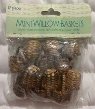 "Lot 12 Mini Wicker-Willow 1"" Basket Small Woven Picnic Doll Miniature Crafts New"