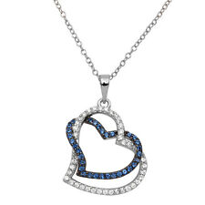 Sterling Silver Rhodium Plated Necklace w/ White & Blue CZ Stones Hearts Pendant