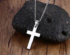 Stainless Steel Cross Pendant Necklace Men/Women Faith Prayer Christian Jewelry