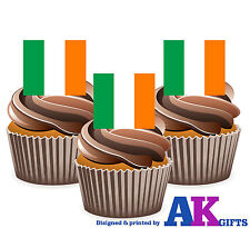 Ireland Irish St Patrick's Day Flag -12 Edible Wafer Cake Toppers Decorations