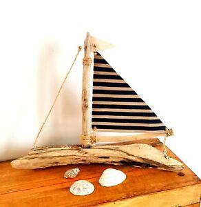 Handmade Driftwood Boat Unique Rustic Coastal Ornament Gift Artwork