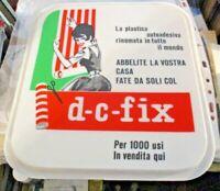 """tabella plast 27x30 pubbl. """"D - C - FIX PLASTICA AUTOADESIVA"""" originale anni '60"""